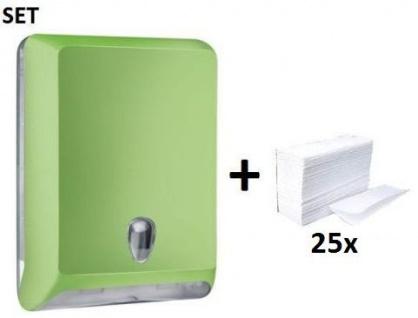 SET Marplast Papierhandtuchspender MP830 Grün Colored Edition + Papierhandtücher