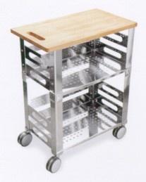 Graepel High Tech P.U.B. Kitchen Trolley aus Edelstahl mit Holzschneidebrett
