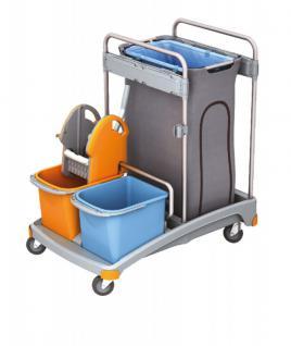 Splast Putzwagen-Set mit Moppresse, 2 Eimern und Abfallsackhalter mit Abdeckung
