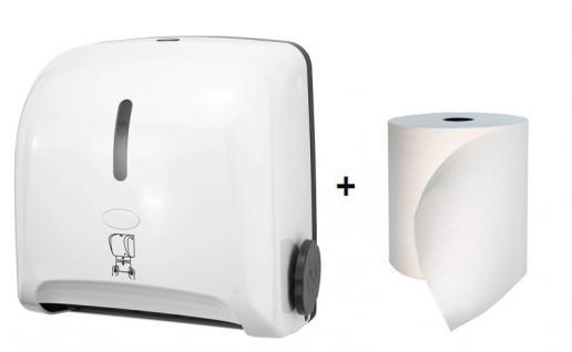 Hyprom SET Papierhandtuchspender Mini weiss + BestRoll Ecolabel Handtuchrolle