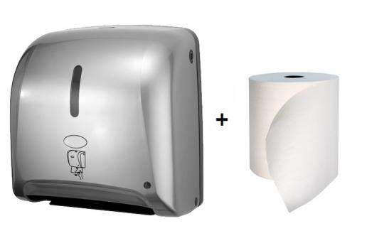 Hyprom Set Tear'n Dry Papierspender Mini Silber Automatisch + BestRoll Ecolabel