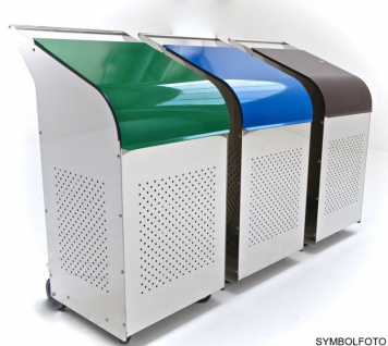 G-Line Pro Abfalleimer Ecobin aus poliertem Edelstahl 1.4301 Aluminiumdeckel Grün