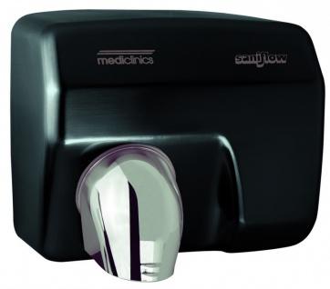 Mediclinics automatischer Händetrockner Wandmontage Stahl schwarz 68 dB 2250W