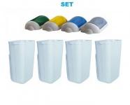 SET Abfalltrennung ''Swing'' 4x Marplast MP742 Mülleimer 23L Weiß + 4x Deckel