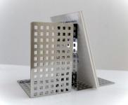 Graepel G-Line Pro Quadrotto Buchstützen aus Edelstahl, 2 Stück
