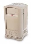 RUBBERMAID Abfallbehälter mit Aschebecher-Einsatz aus Polyethylen in Beige oder Grün