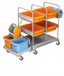 Splast mobiles Plastik-Putzsystem - mit 4 Fächern, 2 Körben, Moppresse und Eimern