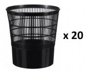 Rossignol 20er Set Cap Papierkörbe jeweils 16L aus Polypropylen mit Greifrand