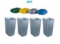 SET Abfalltrennung ''Hidden'' - 4x Marplast MP742 Mülleimer 23L Satin + 4x Deckel