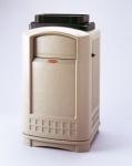 RUBBERMAID Landmark™ Abfallbehälter mit Tablettaufsatz in Beige aus Polyethylen