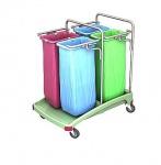 Splast antibakterieller Vierfach-Müllwagen aus Plastik 4x 70l - rot, blau, grün