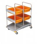 Splast mobiles Reinigungssystem aus Kunststoff mit 4 Ablagefächern - orange/grau