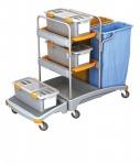 Splast Putztrolley aus Plastik mit 2 Abfallsackhaltern, 3 Boxen und 2 Ablagefächern