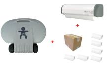SET Wickeltisch Horizontal Kompakt + Papierrollenhalter Economic + Karton mit 6 Papierrollen