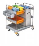 Splast Reinigungswagen aus Plastik mit Beutelhalter, 4 Eimern, 2 Körben und Regal