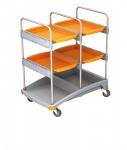 Splast Reinigungswagen aus Kunststoff in grau und orange - mit 4 Ablagefächern