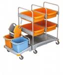 Splast mobiles Reinigungssystem aus Kunststoff mit 4 Fächern, Moppresse und Eimern