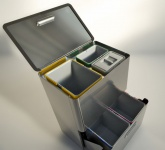 Graepel High Tech hochwertiges Mülleimer-Trennsystem Five aus gebürstetem Edelstahl