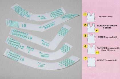Kurvenschablonen - Set - Halsausschnitte