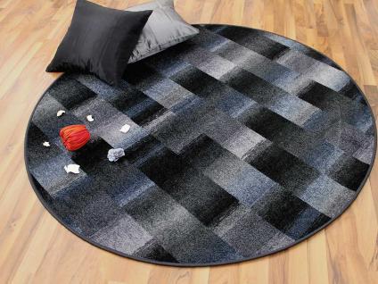 Designer Velour Teppich Mystic Karo Blau Grau Rund