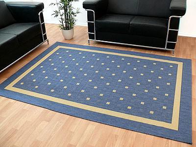 Modern Flachgewebe Ruggy Blau Bordüre in 4 Größen