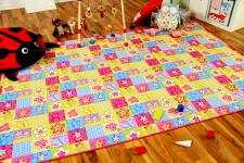 Kinder Spiel Teppich Pink Bunt Patchwork in 24 Größen