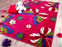 Teppich Fantasy KIDS Schmetterling Blumen Pink in 3 Größen