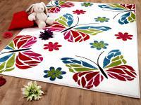 Teppich Fantasy KIDS Schmetterling Blumen Creme in 3 Größen