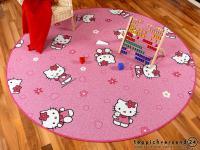 Spiel Kinderteppich Rosa Pink Hello Kitty Rund in 7 Größen