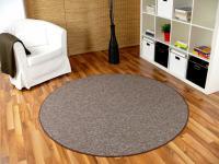 Schlingen Velour Teppich Primo Braun Rund in 7 Größen