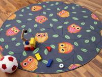 Kinder Spielteppich Eule Grau Rund in 7 Größen