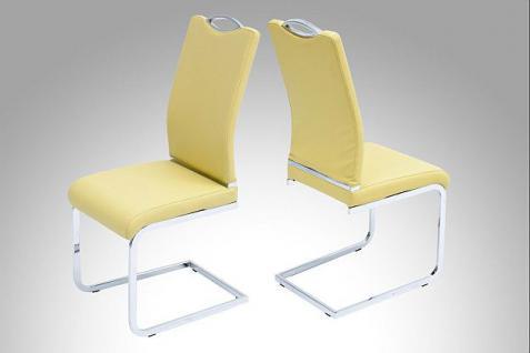 4x Stuhl Stuhlset Freischwinger Leder-Look Chrom 3 Farben R-Porto
