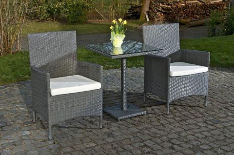 3-tlg. Sitzgruppe Gartenmöbel 2x Stuhl Tisch Rattan 2 Farben CL-Pablo