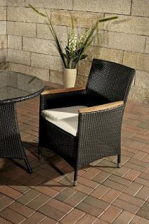 5-tlg Sitzgruppe Lounge Gartenmöbel Teak Rattan schwarz CL-Santo - Vorschau 2