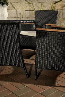 5-tlg Sitzgruppe Lounge Gartenmöbel Teak Rattan schwarz CL-Santo - Vorschau 3