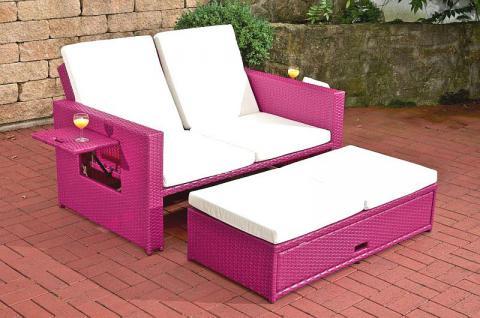 2-Sitzer Sofa ausziehbar Lounge Gartenmöbel Rattan 6 Farben CL-Andy-1