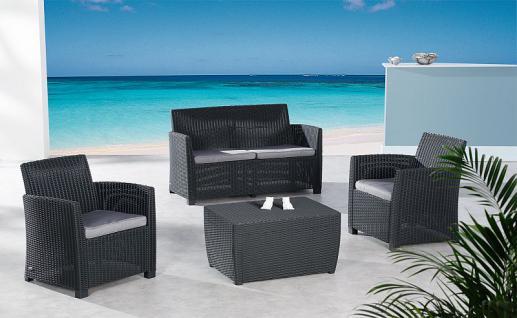 4-tlg Lounge Sitzgruppe Gartenmöbel 2 Farben Auflagen BF-Bornai