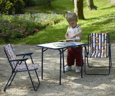 3-tlg Kinder Camping Möbel Set 2x Klappstuhl Tisch blau BF-Kidis