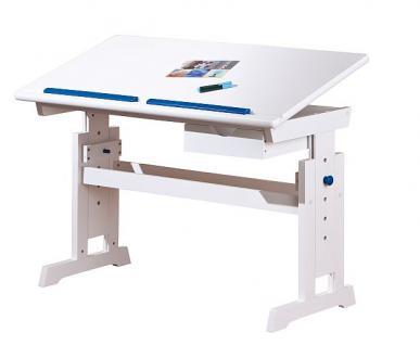 Schreibtisch Kinderschreibtisch weiß verstellbar Applikationen pink blau Boldi P/B