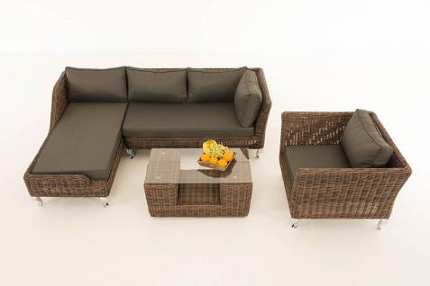 4-tlg Lounge Set Kissen 5 Farben Polyrattan braun-meliert CL-Mayis-B