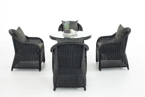 5-tlg Sitzgruppe Lounge Kissen 5 Farben Polyrattan schwarz CL-Fabio-S