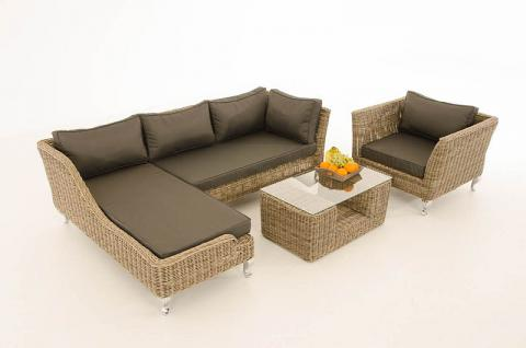 4-tlg Lounge Set Kissen 5 Farben Polyrattan natura CL-Mayis-N