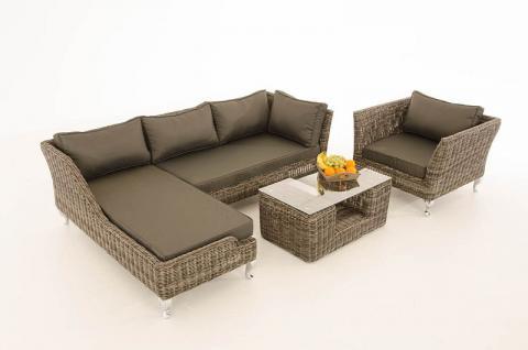 4-tlg Lounge Set Kissen 5 Farben Polyrattan grau-meliert CL-Mayis-G