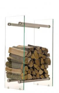 Kaminholzregal freistehend Breite 40 cm Edelstahl|Glas CL-Doan-1