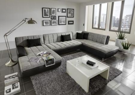 wohnlandschaft recamiere materialmix weiss grau schwarz do jamaica 2. Black Bedroom Furniture Sets. Home Design Ideas