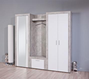 schrank schuhschrank spiegel betonoptik hellgrau wei l brain 15 1 kaufen bei eh online shop. Black Bedroom Furniture Sets. Home Design Ideas