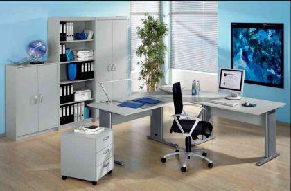 Büromöbel 7-teilig Objektmöbel Büroeinrichtung Wellemöbel office-grau buche S-W-Aktion2