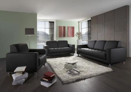 Polstergarnitur 3-tlg. Sofa 3er 2er Sessel schwarz DO-Abriola-2