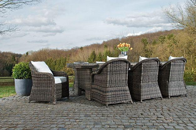 9 tlg xxl sitzgruppe gartenm bel rattan grau meliert cl. Black Bedroom Furniture Sets. Home Design Ideas