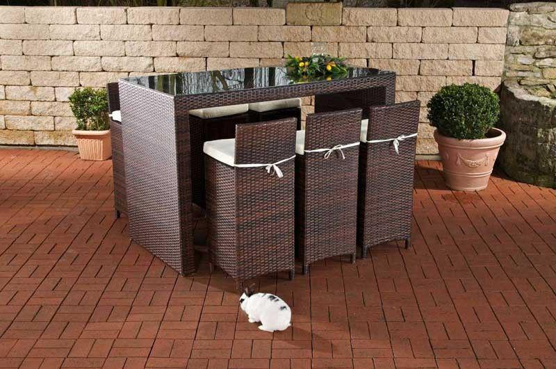 7 tlg bar set gartenbar inkl kissen rattan 3 farben cl laos kaufen bei eh m bel. Black Bedroom Furniture Sets. Home Design Ideas